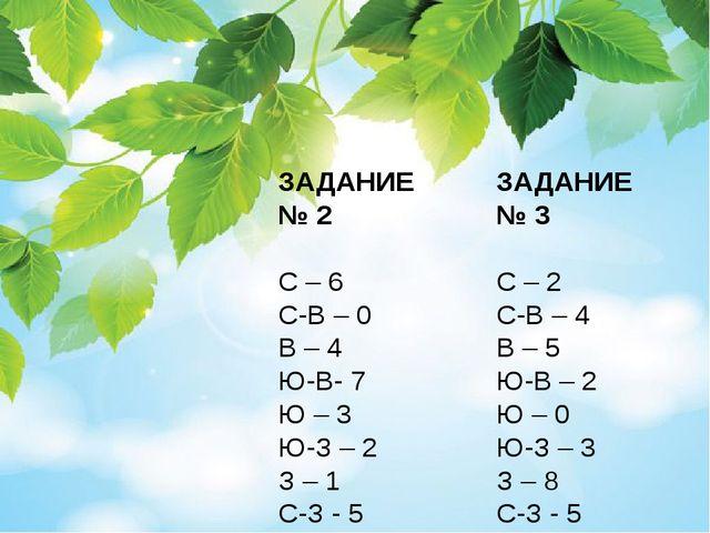 ЗАДАНИЕ № 2 С – 6 С-В – 0 В – 4 Ю-В- 7 Ю – 3 Ю-З – 2 З – 1 С-З - 5 ЗАДАНИЕ №...