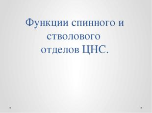 Функции спинного и стволового отделов ЦНС.