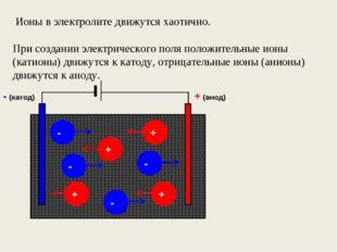 Ионы в электролите движутся хаотично. При создании электрического поля полож