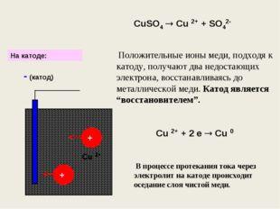 CuSO4  Cu 2+ + SO42- + + - (катод) Положительные ионы меди, подходя к катоду