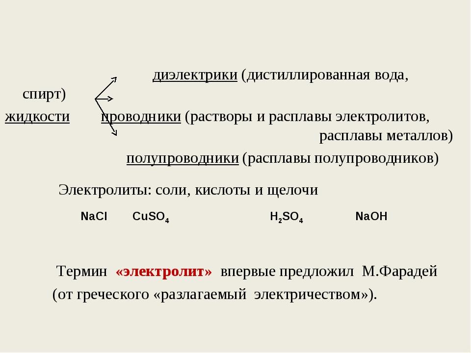 диэлектрики (дистиллированная вода, спирт) жидкости проводники (растворы и р...