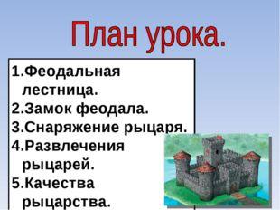 Феодальная лестница. Замок феодала. Снаряжение рыцаря. Развлечения рыцарей. К