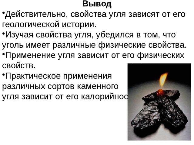 Вывод Действительно, свойства угля зависят от его геологической истории. Изуч...