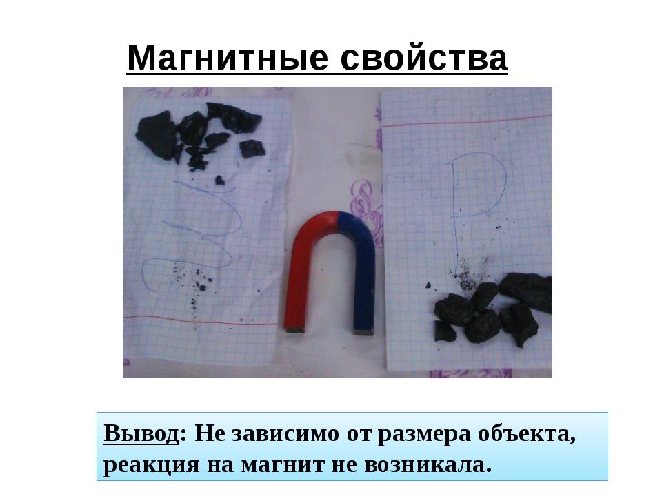 Магнитные свойства Вывод: Не зависимо от размера объекта, реакция на магнит н...