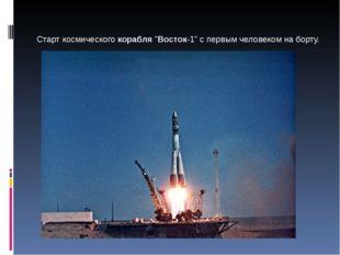 """Старт космического корабля """"Восток-1"""" с первым человеком на борту."""