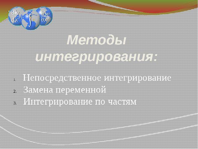 Методы интегрирования: Непосредственное интегрирование Замена переменной Инте...