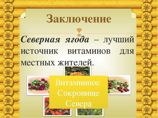 Северная ягода – лучший источник витаминов для местных жителей. Заключение Ви...
