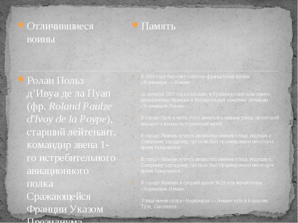 Отличившиеся воины Ролан Польз д'Ивуа де ла Пуап (фр.Roland Paulze d'Ivoy de...