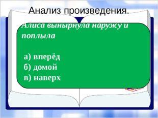 Анализ произведения. Экспресс-опрос… Алиса вынырнула наружу и поплыла а) впер