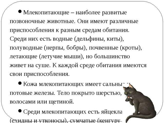 Млекопитающие – наиболее развитые позвоночные животные. Они имеют различные п...