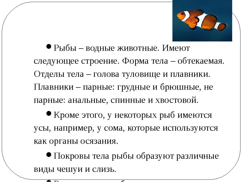 Рыбы – водные животные. Имеют следующее строение. Форма тела – обтекаемая. От...