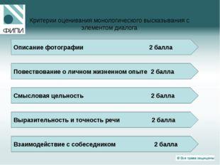 Критерии оценивания монологического высказывания с элементом диалога Описание