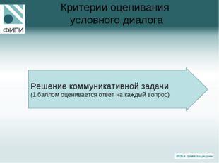 Критерии оценивания условного диалога Решение коммуникативной задачи (1 балло