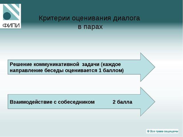 Критерии оценивания диалога в парах Взаимодействие с собеседником 2 балла Реш...