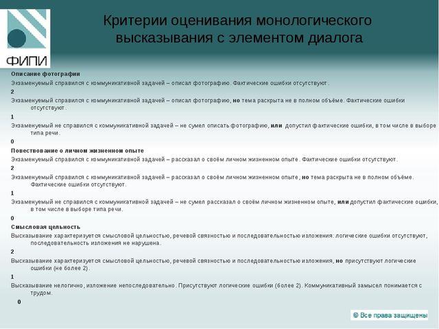 Критерии оценивания монологического высказывания с элементом диалога Описание...