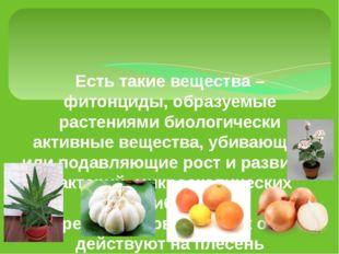 Есть такие вещества – фитонциды, образуемые растениями биологически активные