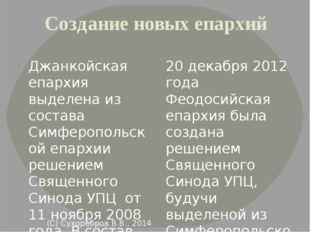 Создание новых епархий Джанкойская епархия выделена из состава Симферопольско