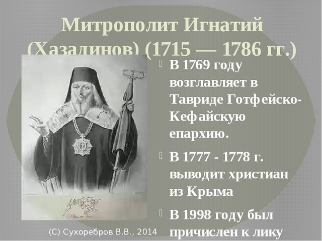 Митрополит Игнатий (Хазадинов) (1715 — 1786 гг.) В 1769 году возглавляет в Та...