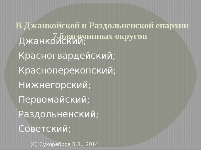 В Джанкойской и Раздольненской епархии 7 благочинных округов Джанкойский; Кр...