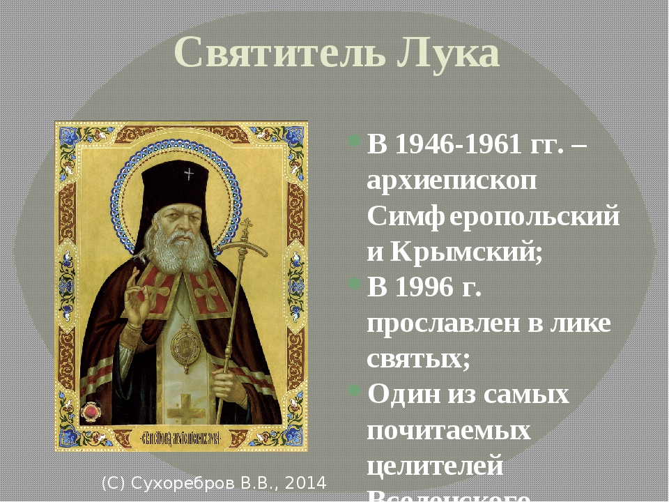 Святитель Лука В 1946-1961 гг. – архиепископ Симферопольский и Крымский; В 19...