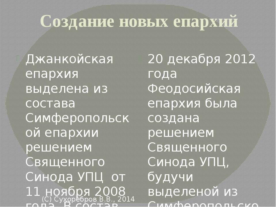 Создание новых епархий Джанкойская епархия выделена из состава Симферопольско...