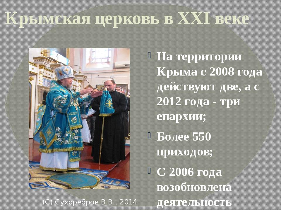 (С) Сухоребров В.В., 2014 Крымская церковь в XXI веке На территории Крыма с...