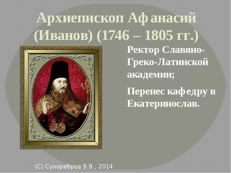 Архиепископ Афанасий (Иванов) (1746 – 1805 гг.) Ректор Славяно-Греко-Латинско...