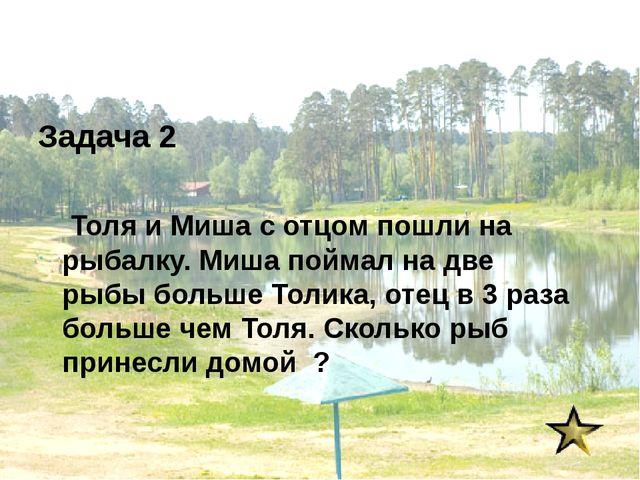 Задача 2 Толя и Миша с отцом пошли на рыбалку. Миша поймал на две рыбы больше...