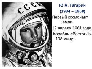 Ю.А. Гагарин (1934 – 1968) Первый космонавт Земли. 12 апреля 1961 года, Кораб