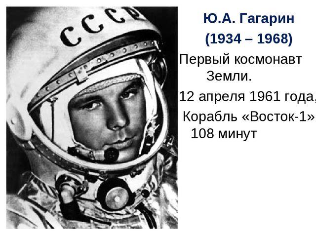 Ю.А. Гагарин (1934 – 1968) Первый космонавт Земли. 12 апреля 1961 года, Кораб...