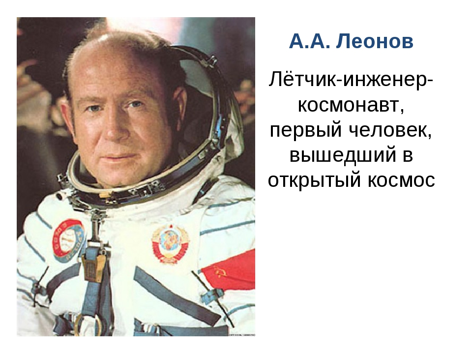 А.А. Леонов Лётчик-инженер-космонавт, первый человек, вышедший в открытый кос...