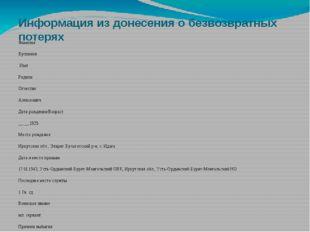 Информация из донесения о безвозвратных потерях Фамилия Бускинов Имя Родион