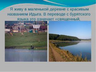 Я живу в маленькой деревне с красивым названием Идыга. В переводе с бурятско