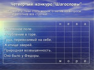 """Четвертый конкурс """"Шагословы"""" Помогите Неве стать морем, ответив на вопросы"""