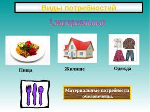 Виды потребностей Пища Жилище Одежда