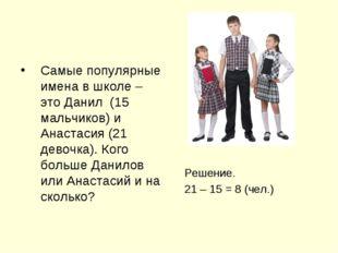 Самые популярные имена в школе – это Данил (15 мальчиков) и Анастасия (21 дев