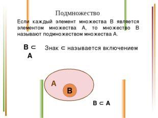Подмножество Если каждый элемент множества В является элементом множества А,