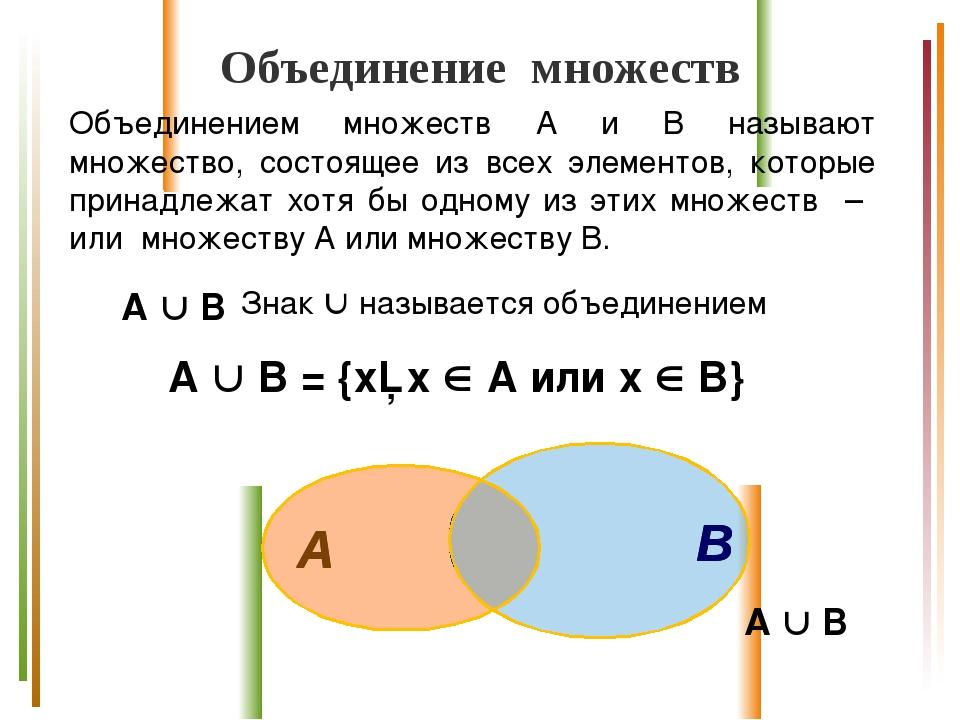 Объединение множеств Объединением множеств А и В называют множество, состояще...
