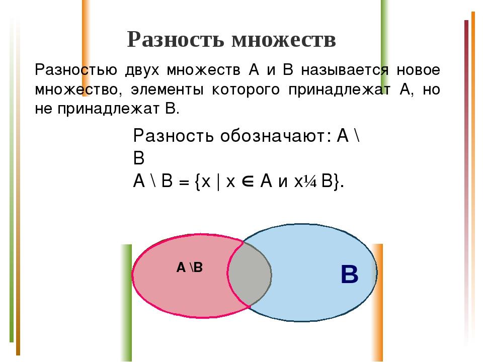 Разность множеств Разностью двух множеств А и B называется новое множество, э...