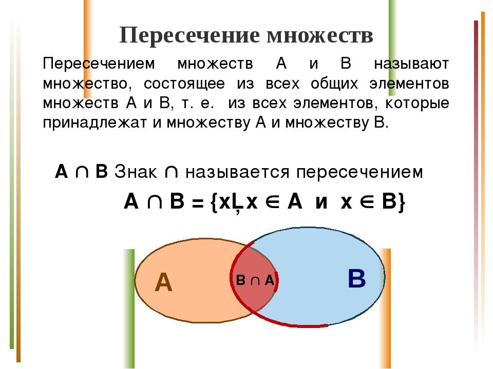 Пересечение множеств Пересечением множеств А и В называют множество, состояще...