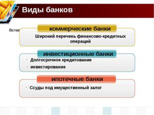 Виды банков коммерческие банки инвестиционные банки ипотечные банки Широкий п