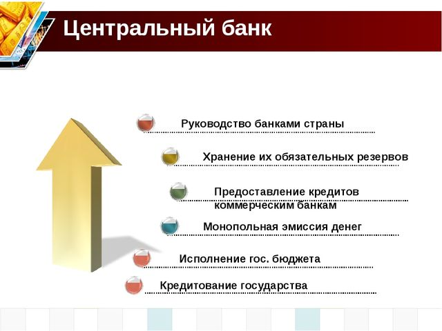 Исполнение гос. бюджета Центральный банк Руководство банками страны Хранение...