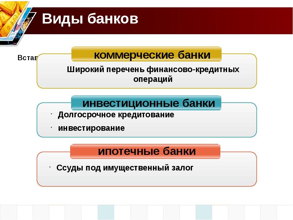 Виды банков коммерческие банки инвестиционные банки ипотечные банки Широкий п...