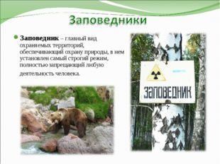 Заповедник – главный вид охраняемых территорий, обеспечивающий охрану природы