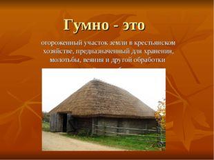 Гумно - это огороженный участок земли в крестьянском хозяйстве, предназначенн