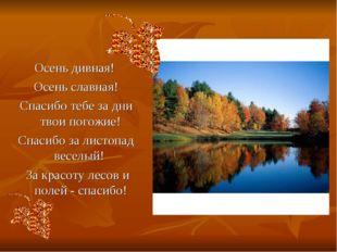 Осень дивная! Осень славная! Спасибо тебе за дни твои погожие! Спасибо за лис