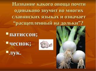 Название какого овоща почти одинаково звучит во многих славянских языках и оз