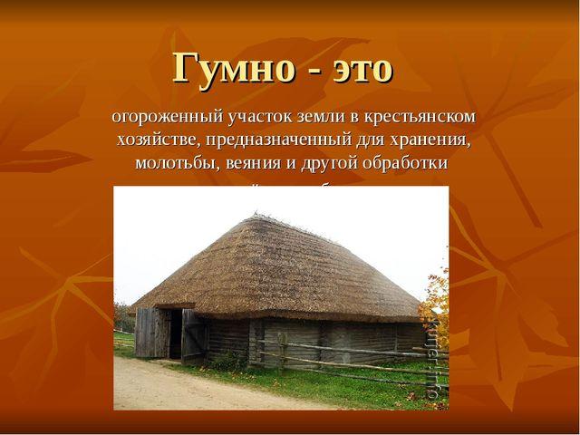 Гумно - это огороженный участок земли в крестьянском хозяйстве, предназначенн...