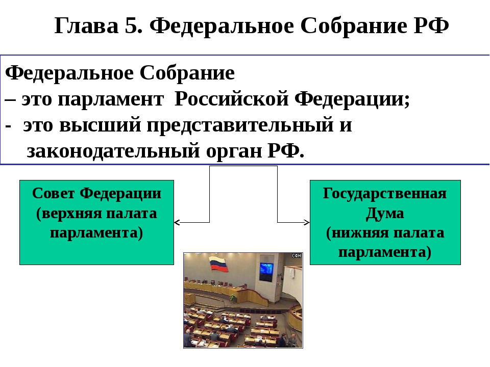 Глава 5. Федеральное Собрание РФ Совет Федерации (верхняя палата парламента)...