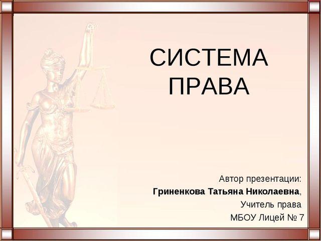 СИСТЕМА ПРАВА Автор презентации: Гриненкова Татьяна Николаевна, Учитель права...